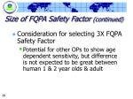 size of fqpa safety factor continued