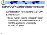 size of fqpa safety factor continued90