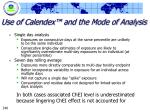 use of calendex and the mode of analysis
