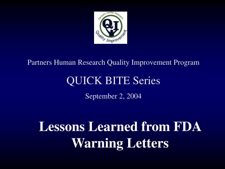 lessons learned from fda warning letters
