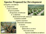 species proposed for development