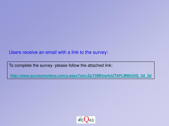 Users receive an email with a link to the survey: