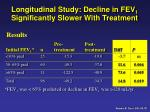 longitudinal study decline in fev 1 significantly slower with treatment