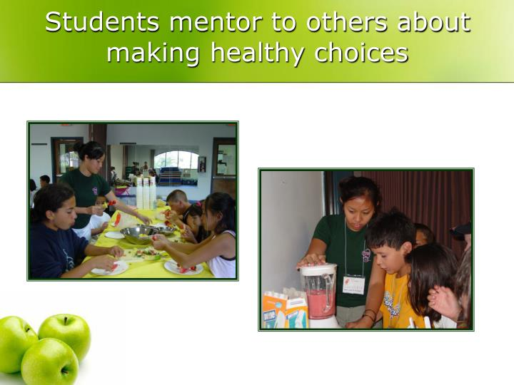 Students mentor to others about