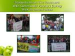 students pound the pavement with community partners during walk to school week