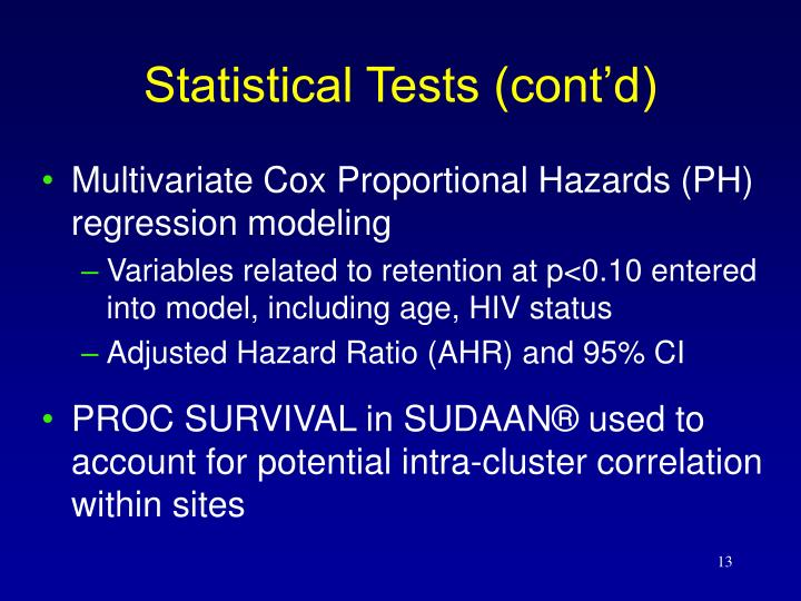 Statistical Tests (cont'd)