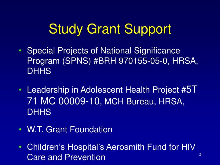 Study grant support