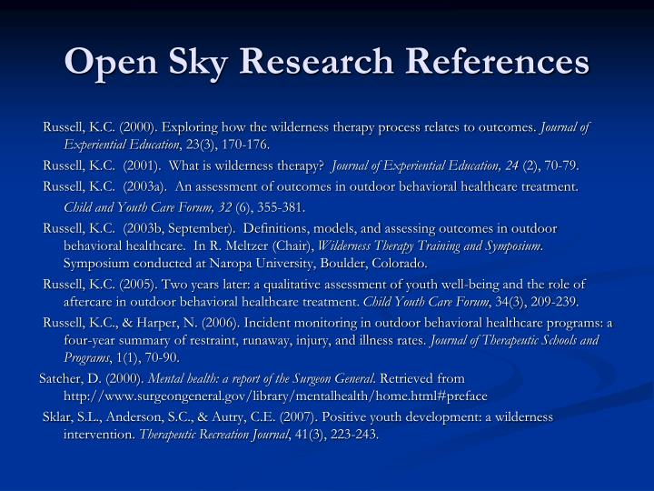 Open Sky Research References