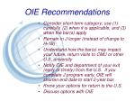 oie recommendations