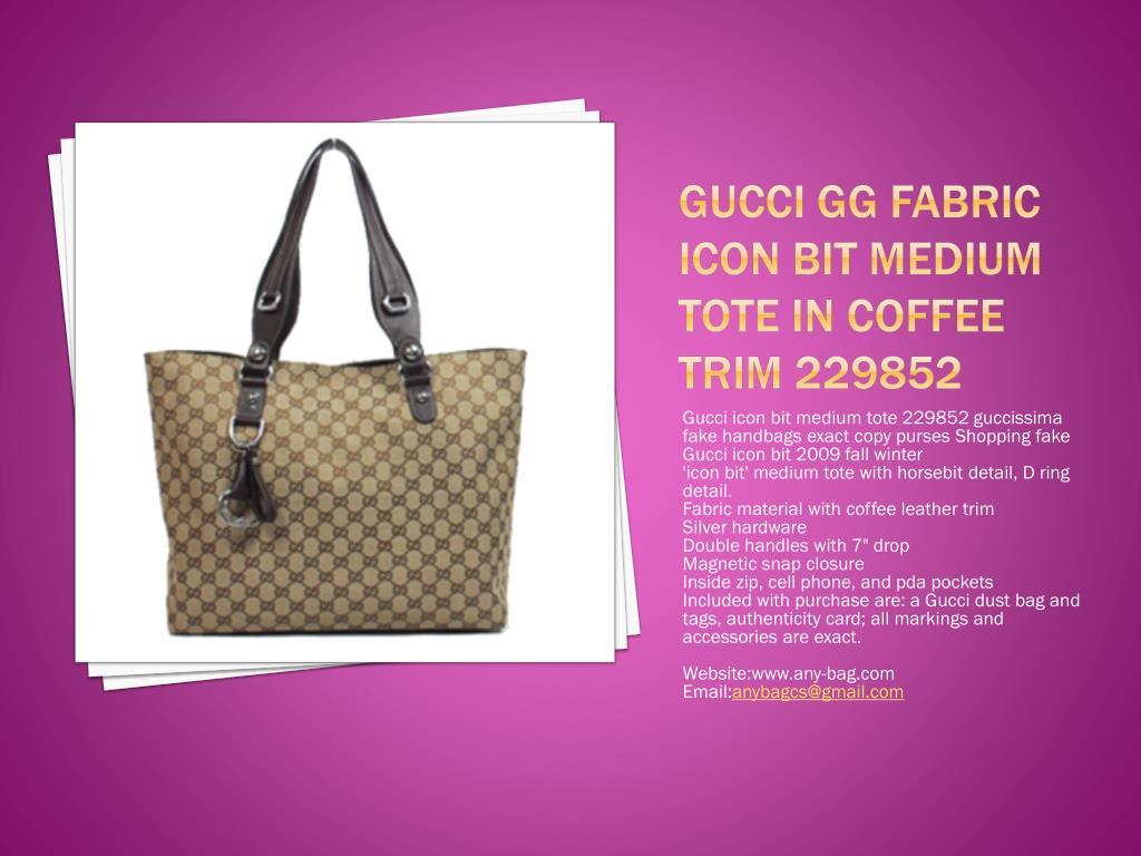Gucci GG Fabric Icon Bit Medium Tote in Coffee Trim 229852