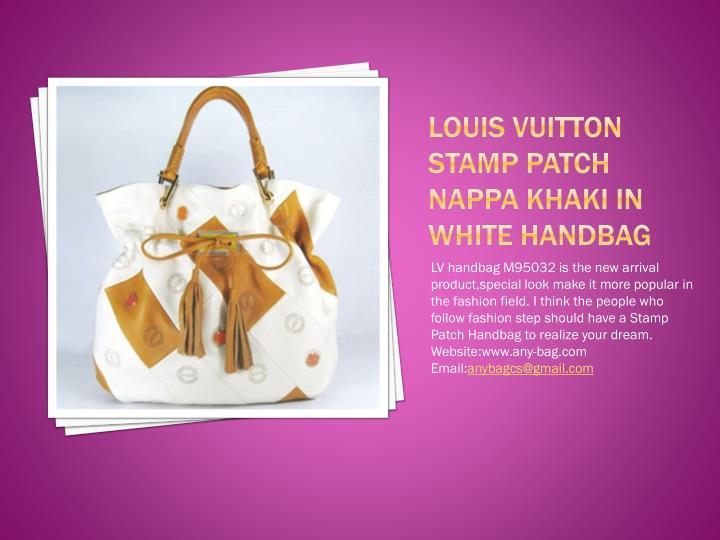 Louis vuitton stamp patch nappa khaki in white handbag