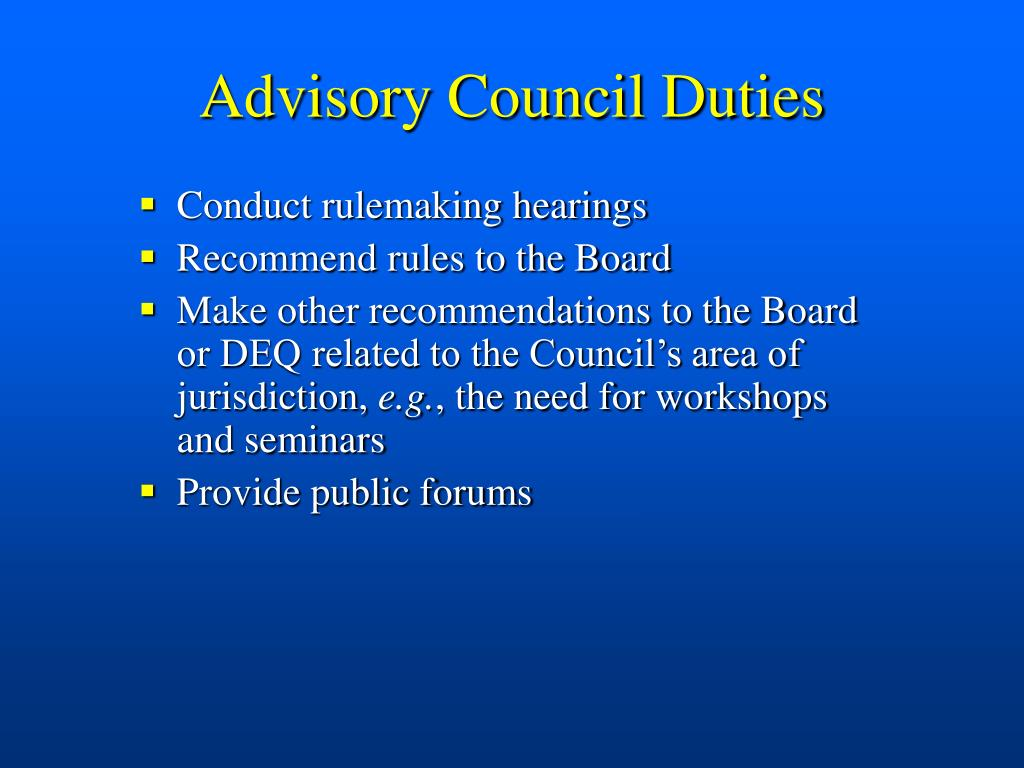 Advisory Council Duties