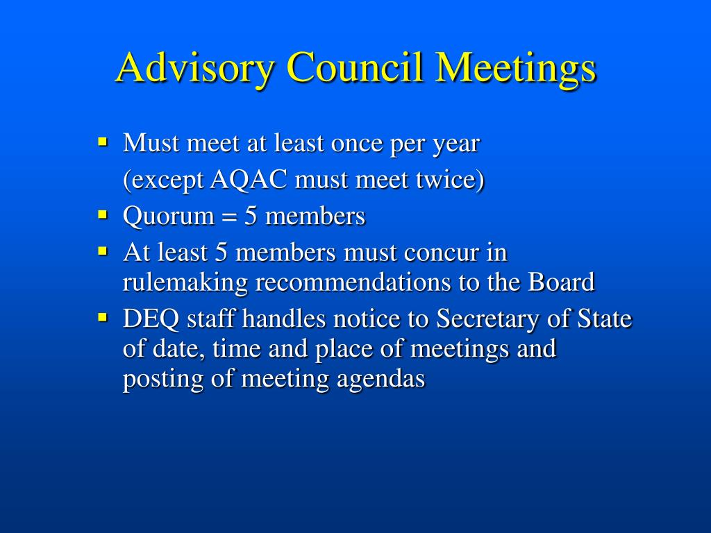 Advisory Council Meetings