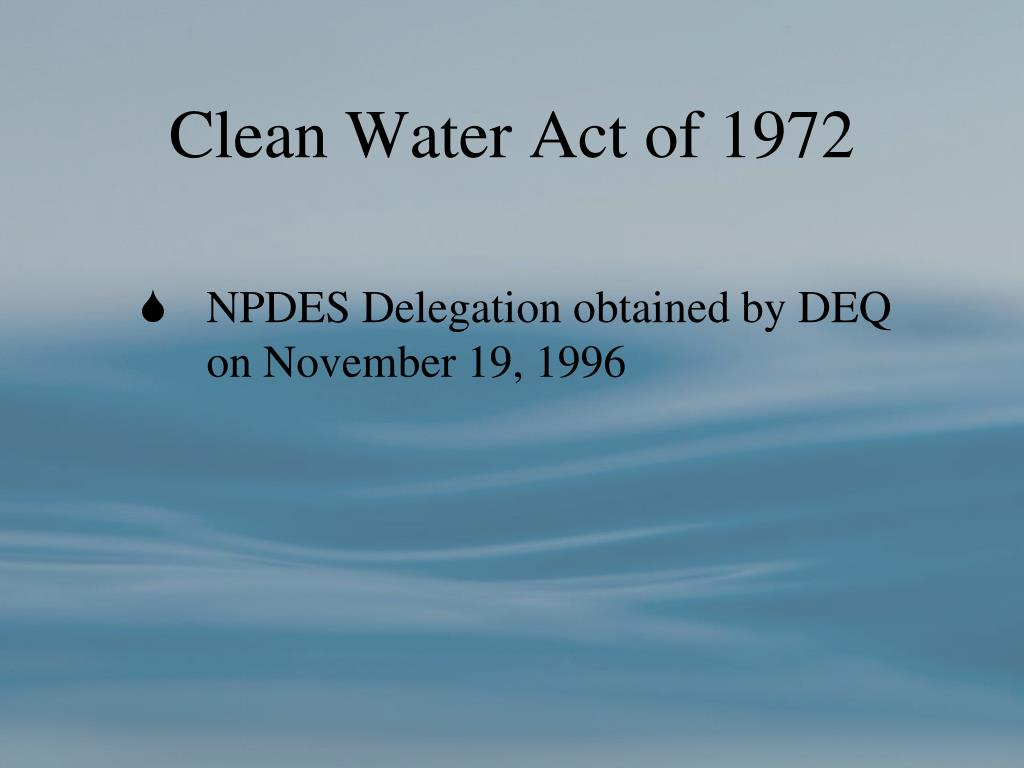 Clean Water Act of 1972