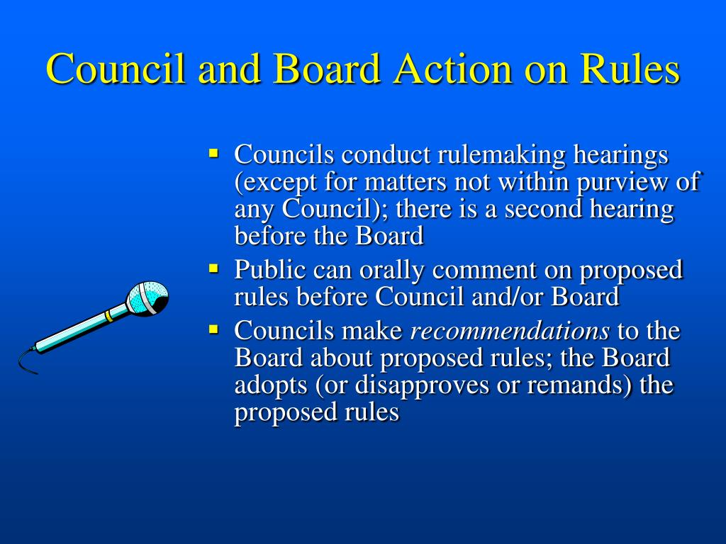 Council and Board Action on Rules