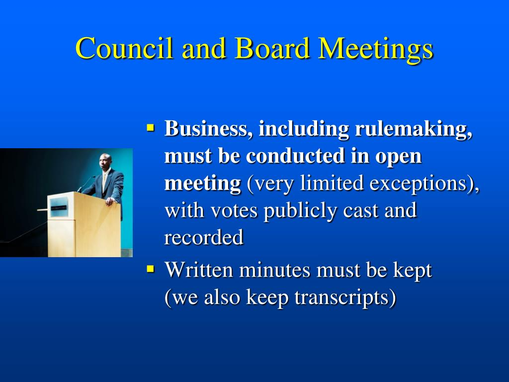 Council and Board Meetings