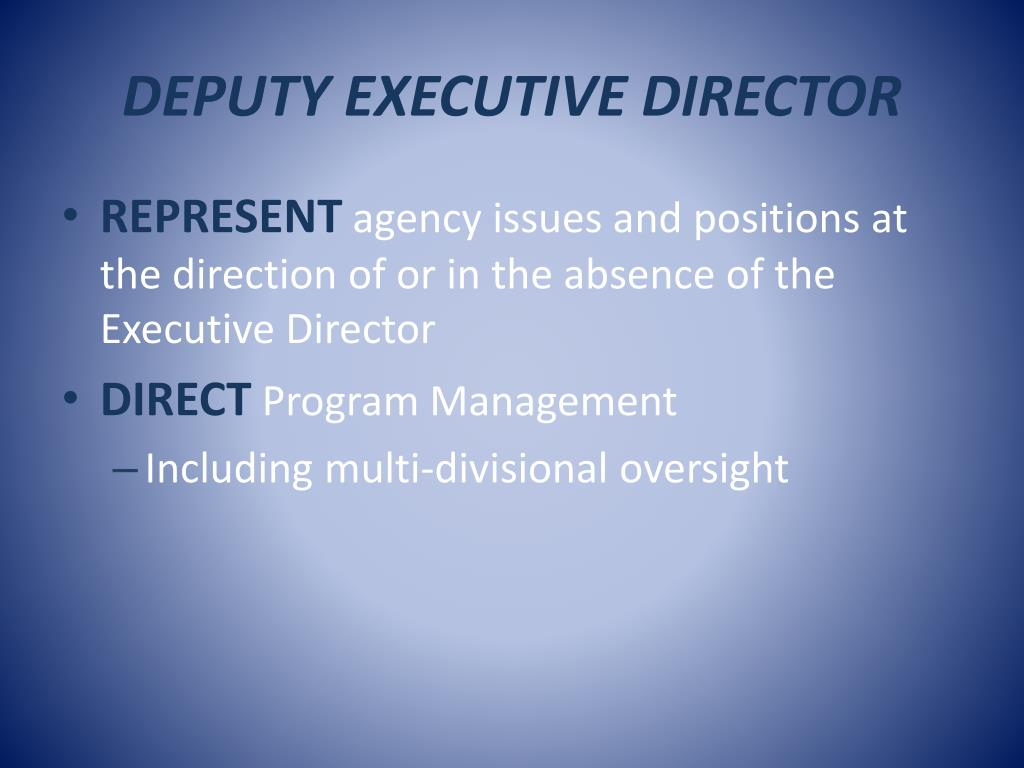 DEPUTY EXECUTIVE DIRECTOR