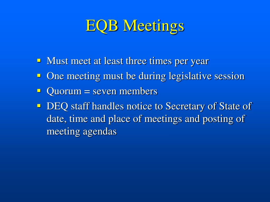 EQB Meetings