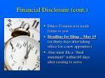 financial disclosure cont