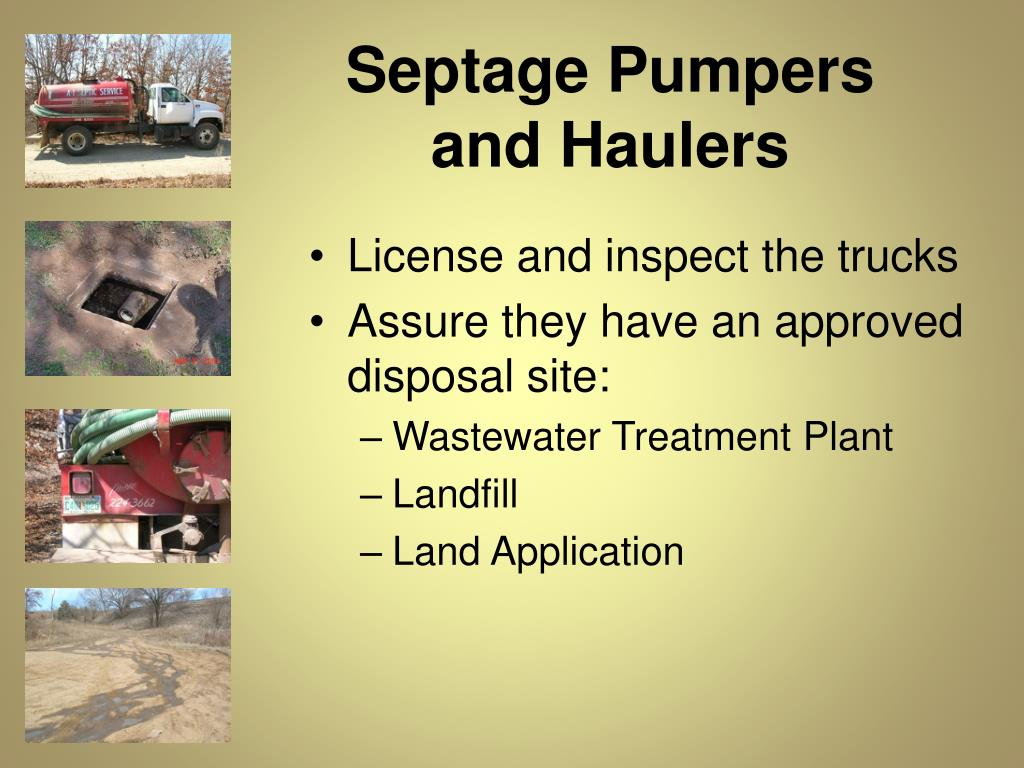 Septage Pumpers       and Haulers