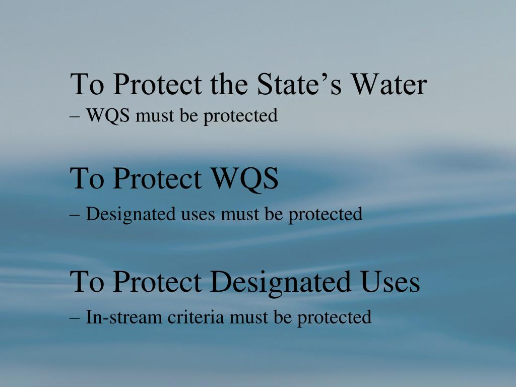 To Protect the State's Water