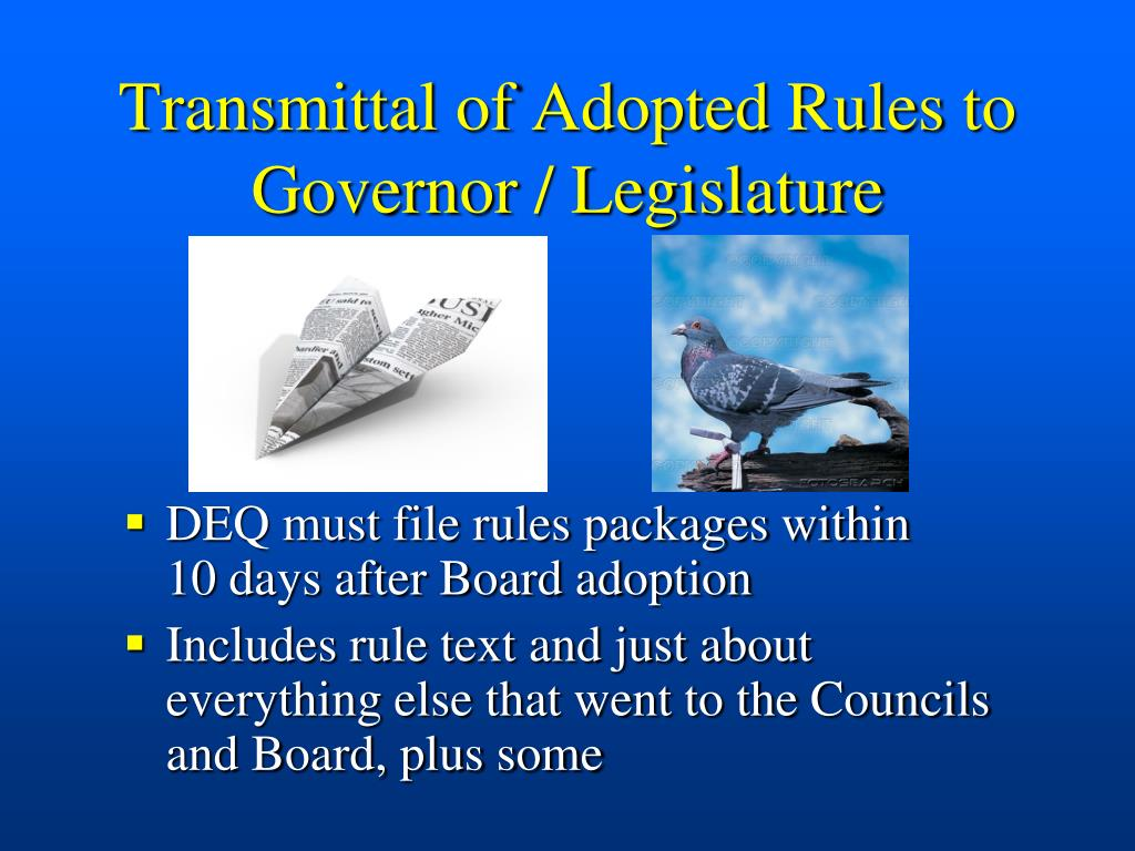Transmittal of Adopted Rules to