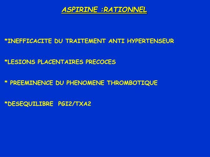 ASPIRINE :RATIONNEL