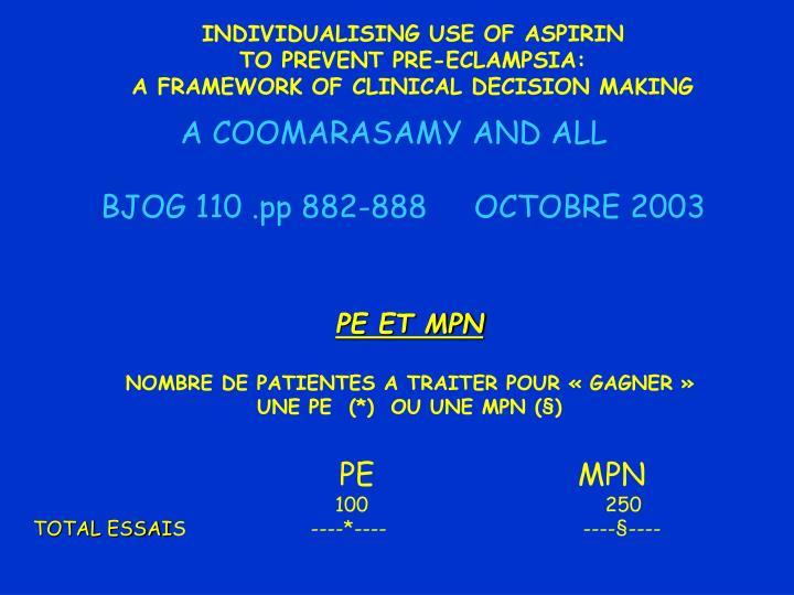 INDIVIDUALISING USE OF ASPIRIN