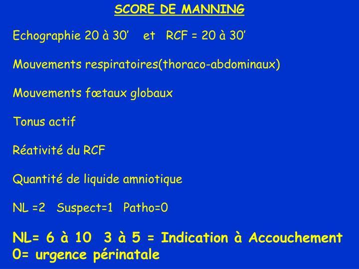 SCORE DE MANNING