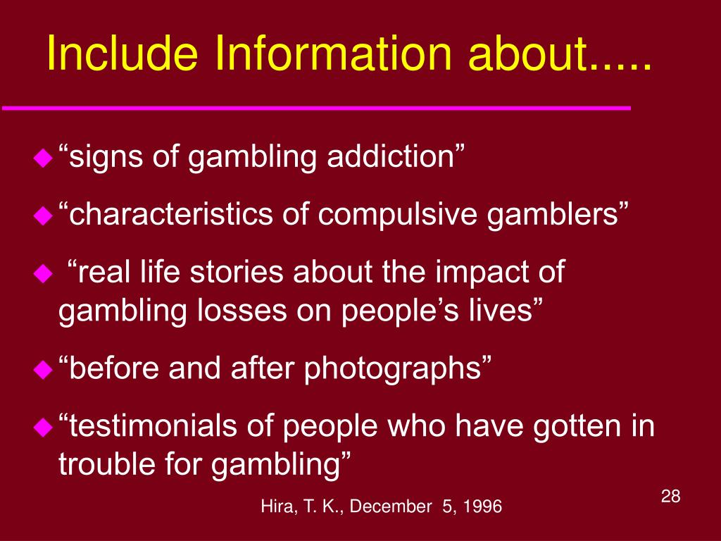 Include Information about.....