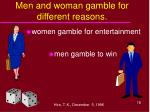 men and woman gamble for different reasons