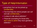 type of help information
