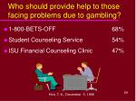 who should provide help to those facing problems due to gambling