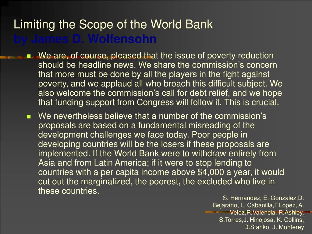 Limiting the Scope of the World Bank