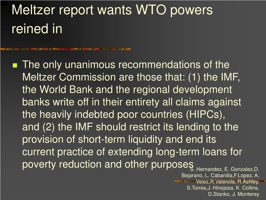 Meltzer report wants WTO powers reined in