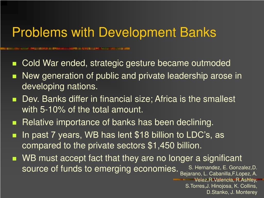 Problems with Development Banks