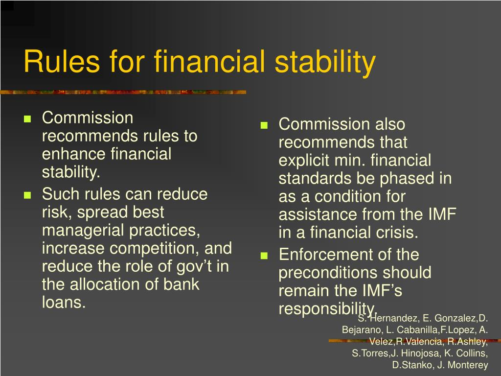 Commission recommends rules to enhance financial stability.