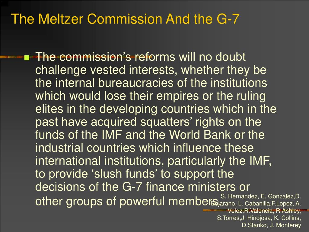 The Meltzer Commission And the G-7