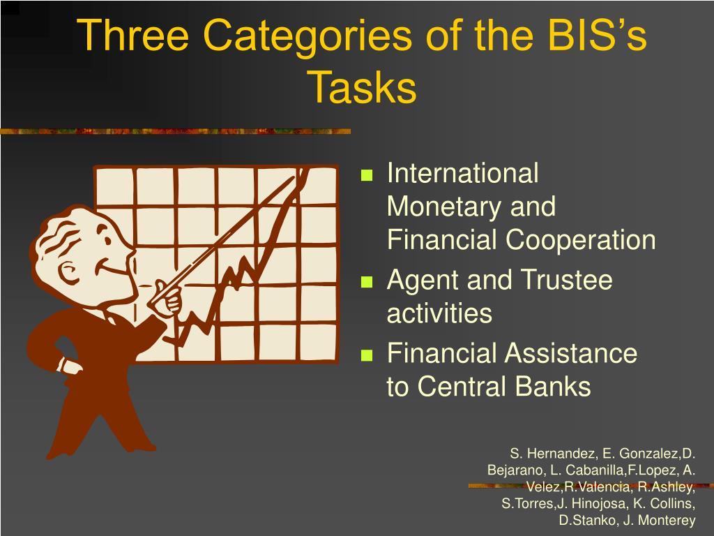 Three Categories of the BIS's Tasks