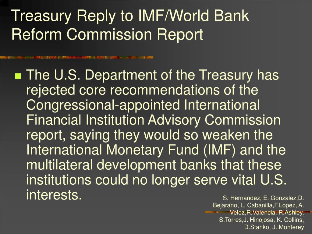 Treasury Reply to IMF/World Bank Reform Commission Report
