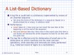 a list based dictionary