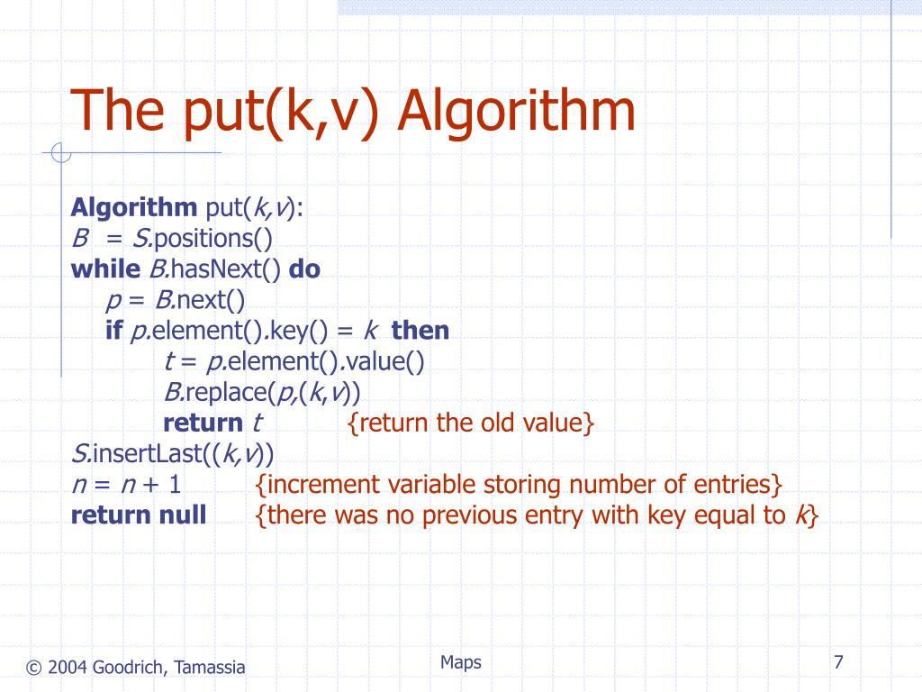The put(k,v) Algorithm