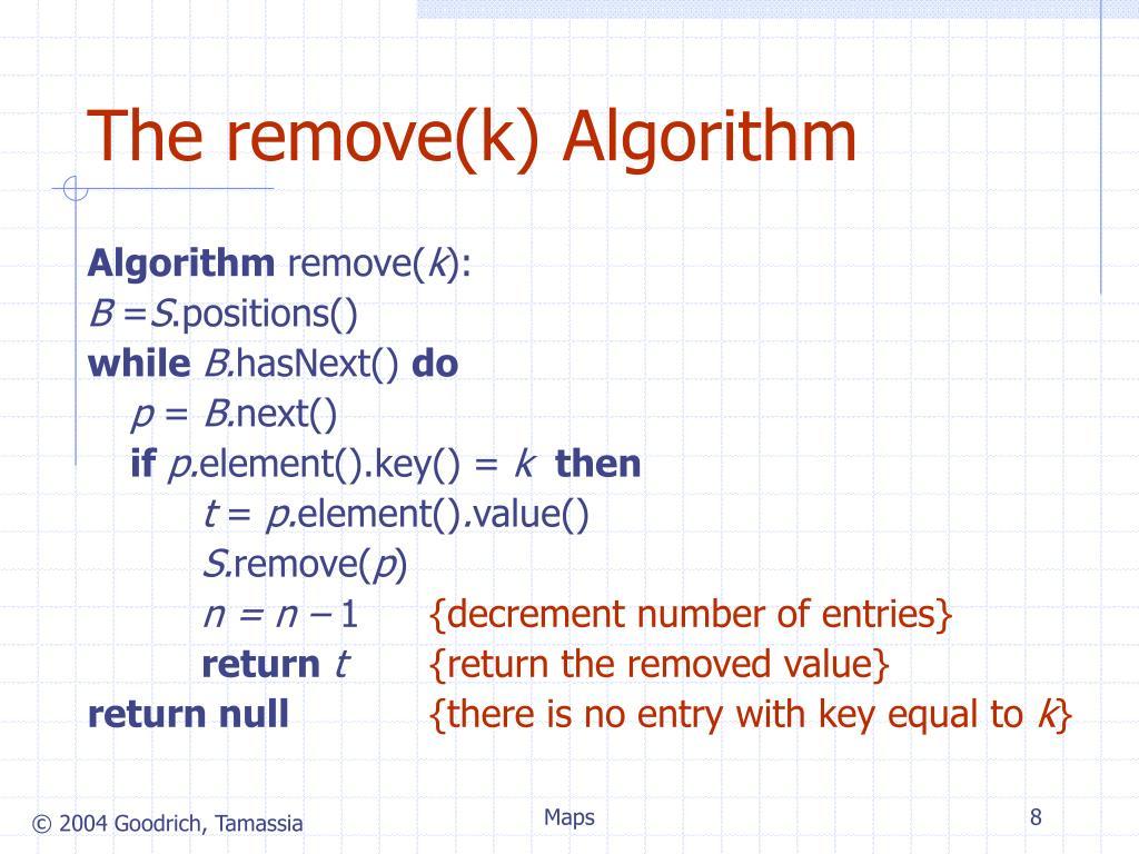 The remove(k) Algorithm