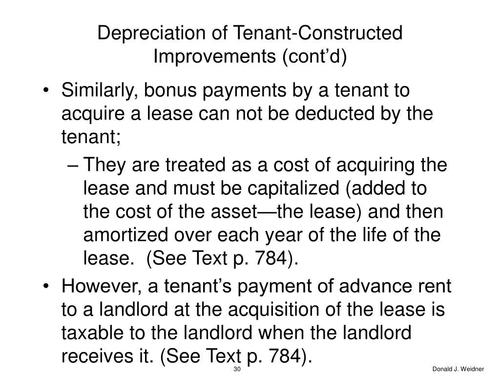 Depreciation of Tenant-Constructed Improvements (cont'd)