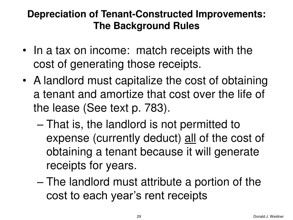Depreciation of Tenant-Constructed Improvements:  The Background Rules