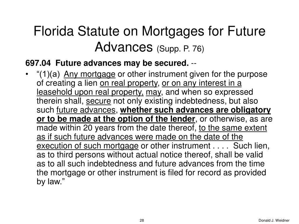 Florida Statute on Mortgages for Future Advances