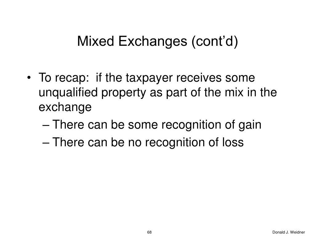 Mixed Exchanges (cont'd)