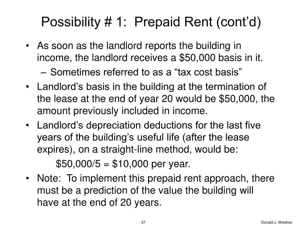 Possibility # 1:  Prepaid Rent (cont'd)