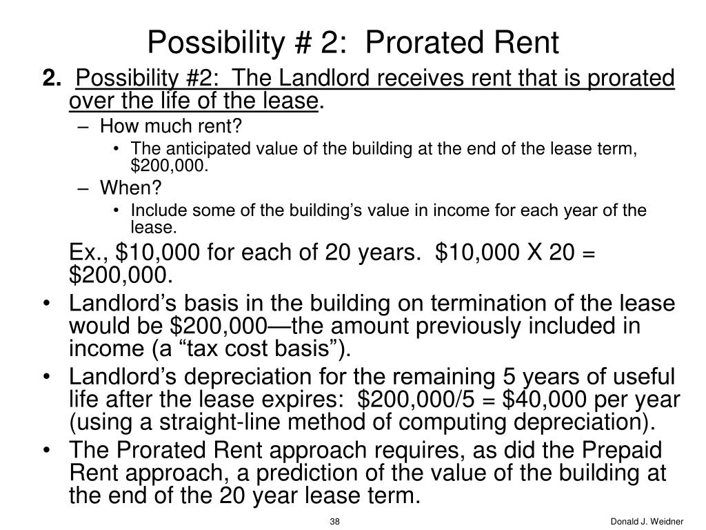 Possibility # 2:  Prorated Rent