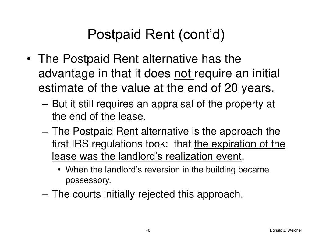 Postpaid Rent (cont'd)